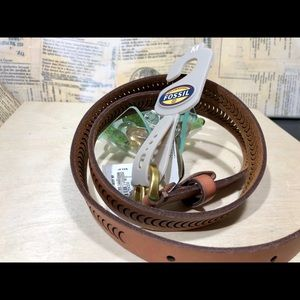 Fossil Crescent Brown Leather Belt